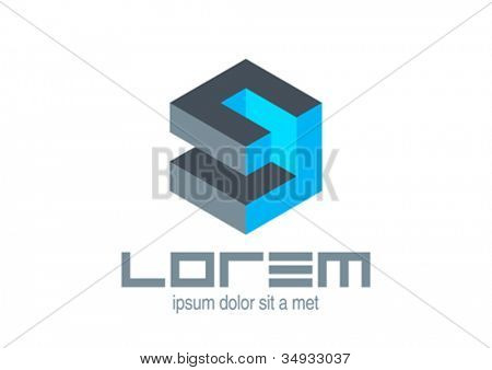 Abstract icon. Logic puzzle cube. Vector. Editable.