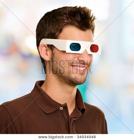 Man Watching Television In 3d Glasses, Background