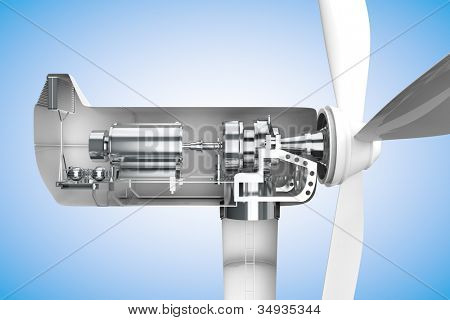 Cross-section of windmill showing generator in 3D