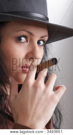Girl Smoking Cigar