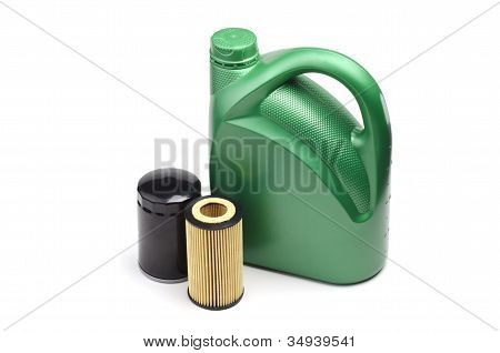 Green Oil Canister And Oil Filters