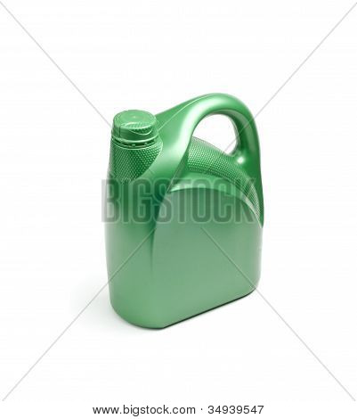 Green Oil Canister On White