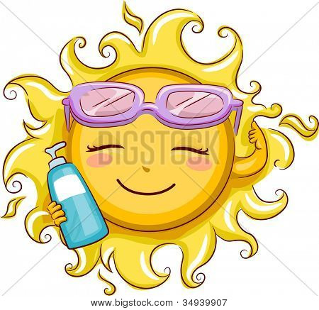 Illustration Featuring the Sun Holding a Sunblock Lotion