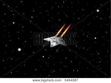 Vector Illustration Of Space Ship