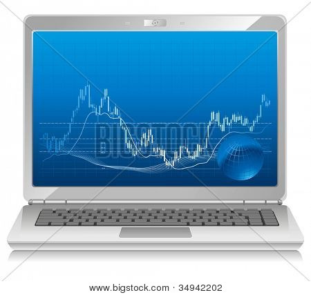 Notebook for business. Stock chart on laptop, mobile workstation.