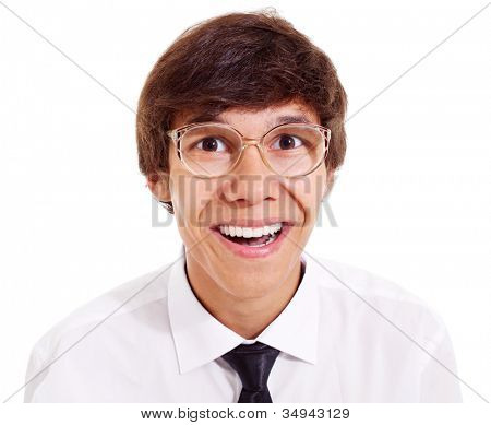 Funny geek with big glasses in white shirt and black tie. Isolated on white background, mask included