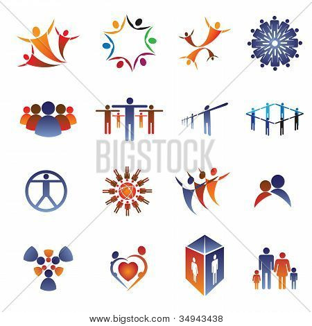Collection Set Of Icons And Design Elements Related To Community, Office Staff, Family, Couple & Peo