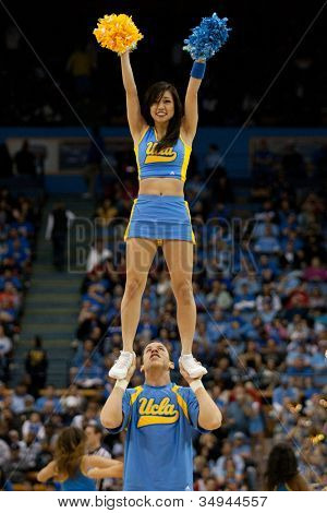 LOS ANGELES - FEB 26: UCLA cheerleaders during the NCAA basketball game between the Arizona Wildcats and the UCLA Bruins on Feb 26, 2011 at Pauley Pavilion.