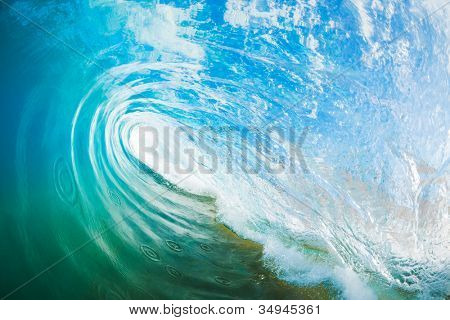 Blue Ocean Wave, View inside the Wave