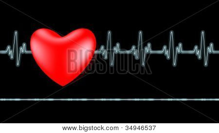 Ecg Heart Beat Over Black