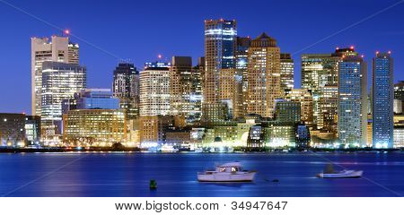 Panorama of downtown Boston, Massachusetts, USA.