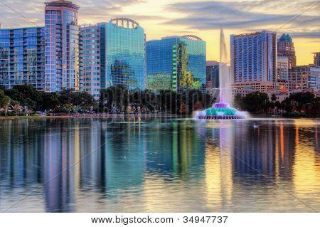 Skyline of Orlando, Florida from lake Eola.