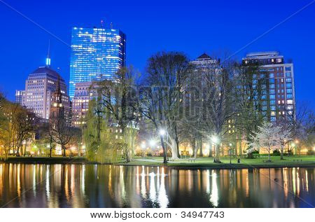 Boston, Massachusetts at Back Bay as seen from Boston Public Garden