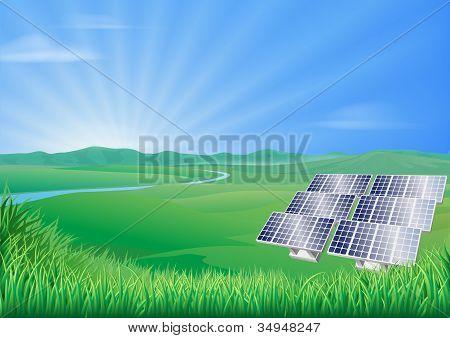 Panel solar paisaje ilustración