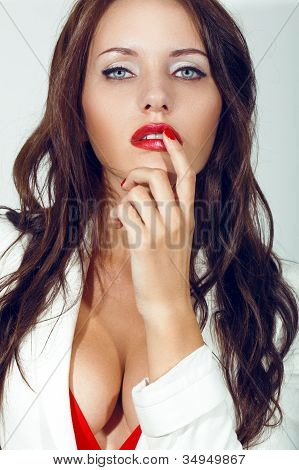 closeup portrait of sexual brunette woman