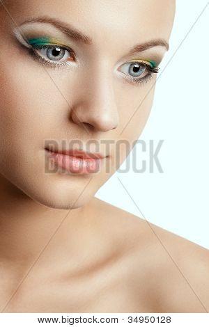 closeup woman face with creative makeup