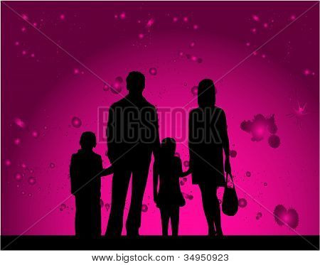Silhouette Families - Pink Background