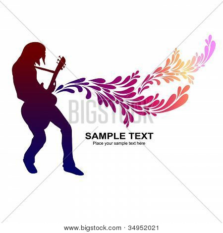 Guitar player, vector background for CD cover