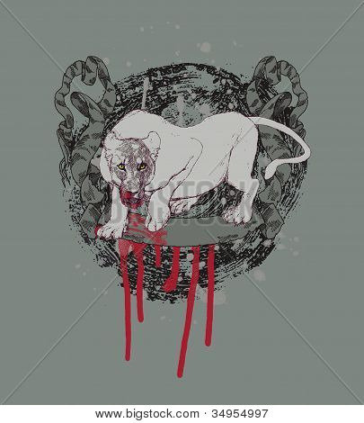Successful hunting;  abstract background with lioness