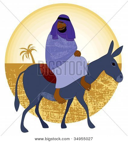 Travel, abstract backgroundon with man on a donkey