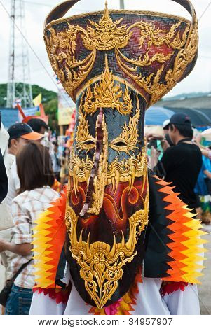 Provinz Loei, Thailand 23. Juli 2012.: Gespenster Festival (Phi ta Khon) ist eine Art von maskierten Prozession c