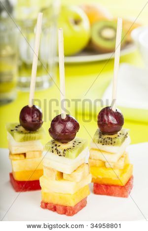 Delicious Fruit Skewers Served On A Plate