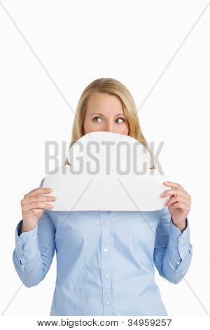 Female Hiding Behind A Paper Cloud