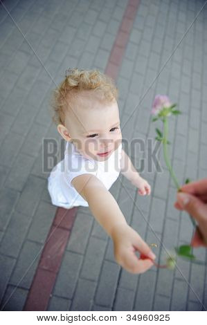 Cute Child Over Pavement Background