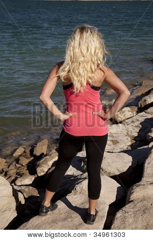 Woman Pink Tank Back Water