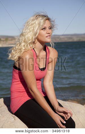 Woman Pink Tank Water Look Serious