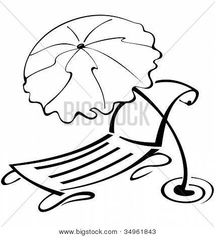 Black-and-white-contour-umbrella-and-beach-chair