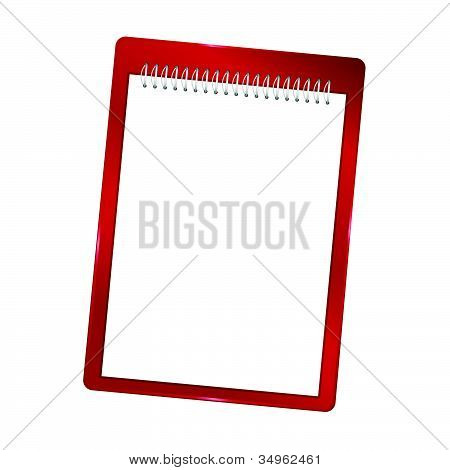 Notebook Blank With Spiral Vector Red Illustration