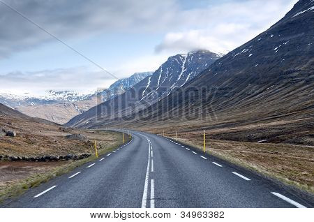 A Road And Mountains