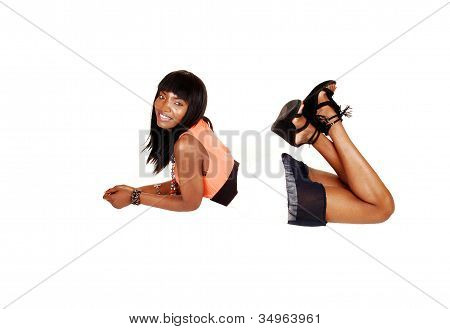 Black Girl Lying On Belly.