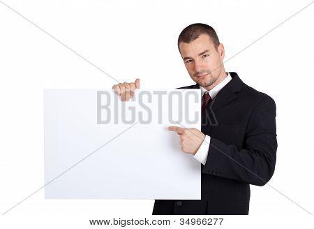 Businessman With Blank Board