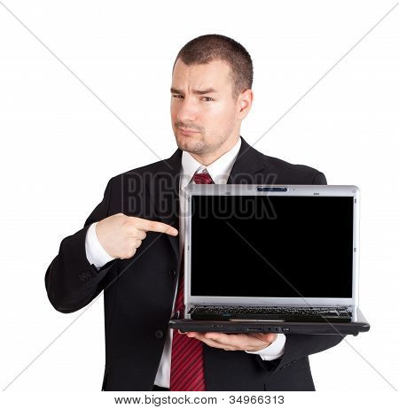 Businessman Pointing On Laptop