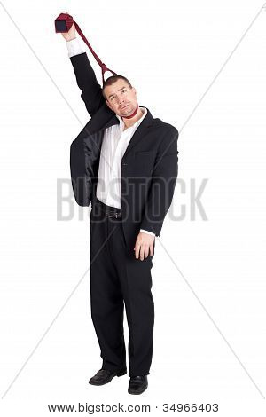 Business Man Strangling Himself With Tie