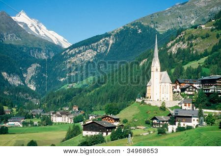 Town of Heiligenblut and Grossglockner in Austria