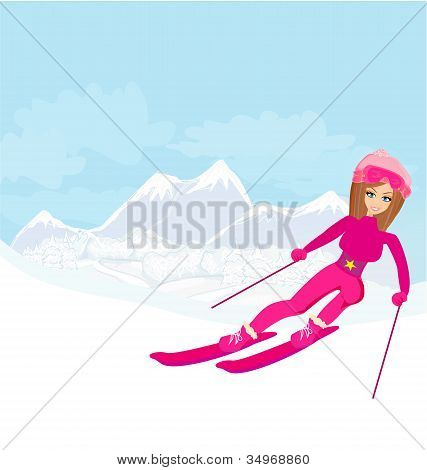 Illustration Of A Young Woman Skiing Down A Snow Covered Mountain Under A Clear Blue Sunny Sky