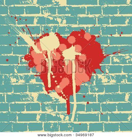 Heart symbol on brick wall. Raster version.