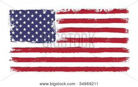 "Stars and stripes. Grunge version of American flag with 50 stars and ""old glory"" original colors. Raster version."