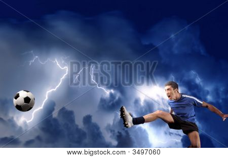 Soccer Player And Storm
