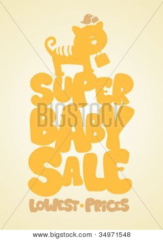 Super sale children's things, funny design template.