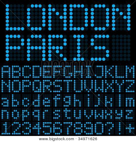 Blue LED Alphabet and Digits Set