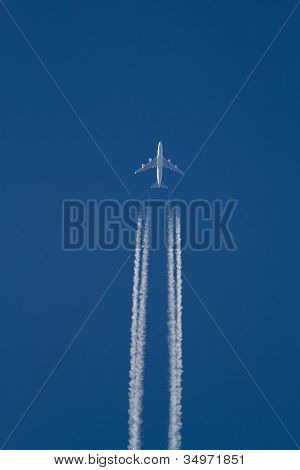 Jumbo Jet Flying High Above