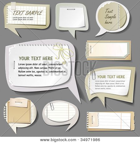 Vector illustration of retro paper bubbles speech