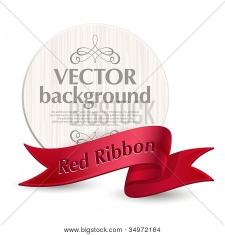 Vector emblem with a red ribbon