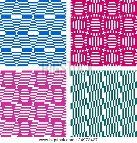Seamless geometric patterns. Textures set. Vector art.