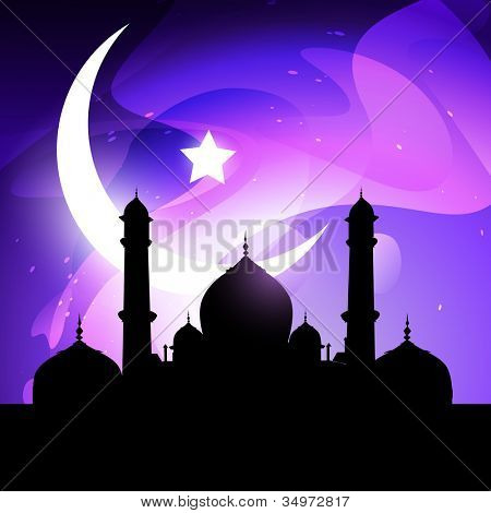 ramadan and eid illustration with mosque and moon