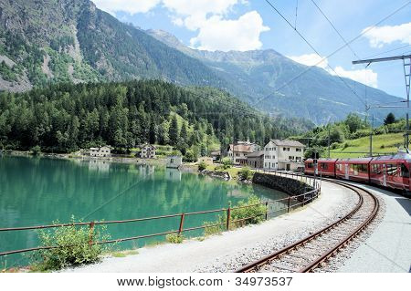 The Bernina Railway in Grisons, Switzerland